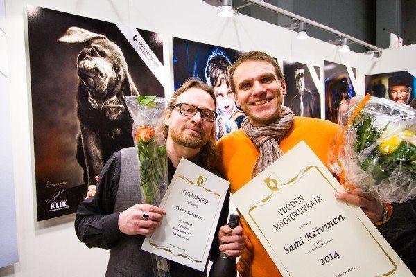 Vuoden Muotokuvaaja -kilpailun kärkikaksikko Sami Reivinen ja Peero Lakanen